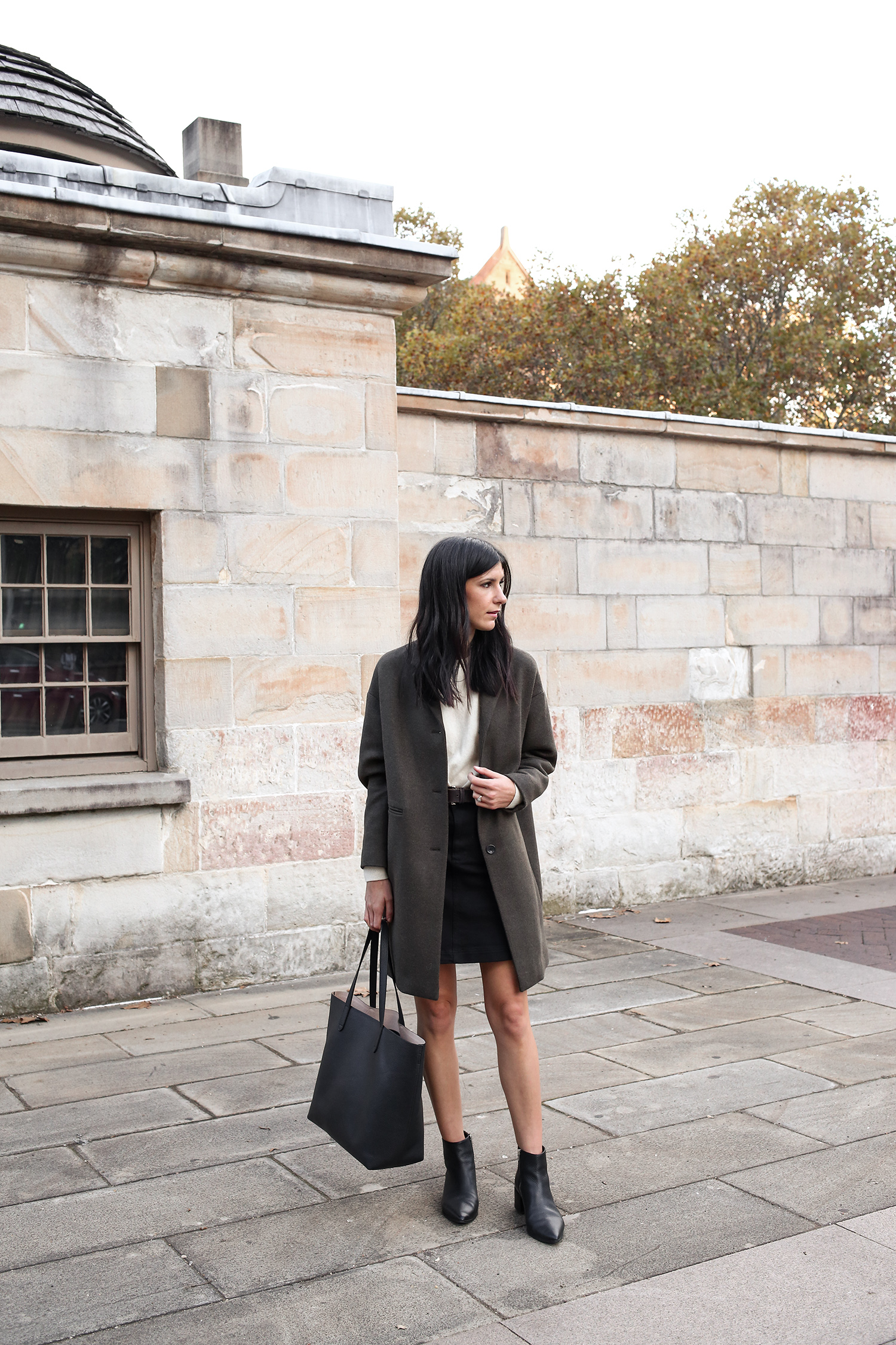 813881e591 Jamie Lee Mademoiselle wearing an Autumn Minimal Style Outfit of a cashmere  sweater with mini skirt ...